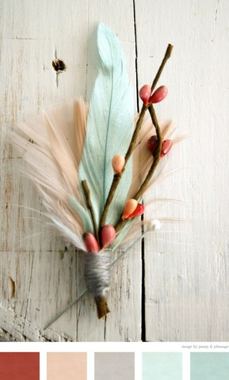 Color Inspiration #6 - Feather Boutonniere